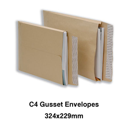 C4 Gusset Envelope 25mm Manilla Peel and Seal